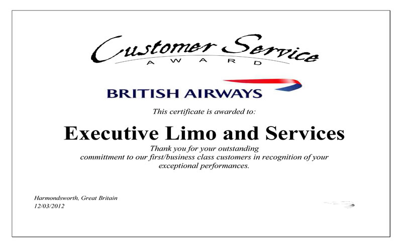 Certificate Issued by British Airwais in  2012