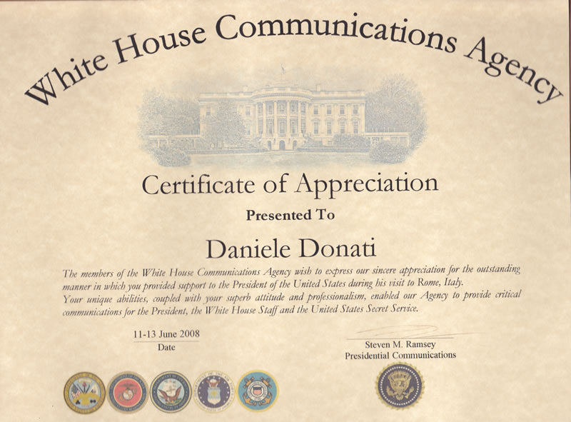 Certificate issued by  the White House staff and U.S.Secret Service for 2008  Presidential visit in Rome  Mr. Barak  H. Obama